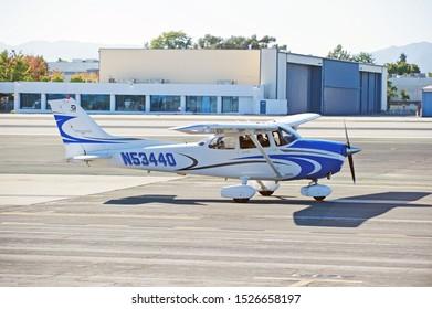 SANTA MONICA/CALIFORNIA - SEPT. 21, 2019: Cessna 172S fixed wing single engine aircraft taxiing along the tarmac at Santa Monica Airport. Santa Monica, California USA