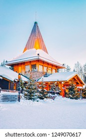 Santa Office and Christmas tree of Santa Claus Village in Rovaniemi in Lapland in Finland.