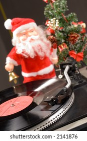 Santa with old-style vinyl player