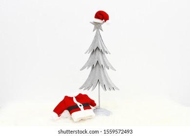 Santa outfit, Christmas tree, winter