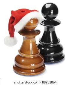 Santa pawn isolated on white