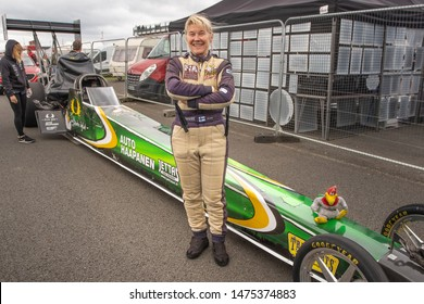 Santa Pod Raceway, UK, May 26 2019. Anita Mäkelä from Finland, winner, Round 1, FIA Top Fuel Dragster. FIA/FIM The Main Event, European Drag Racing Competition.