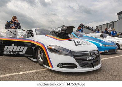 Santa Pod Raceway, UK, May 26 2019. Pro Stock Dart GT drag racer in the paddock with driver Simon Gufstafssen, Sweden. FIA/FIM The Main Event, European Drag Racing Competition.