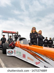 Santa Pod Raceway, UK, May 26 2019. Top fuel dragster in the paddock with attendants. Driven by Micke Kagerad, Sweden. FIA/FIM The Main Event, European Drag Racing Competition.