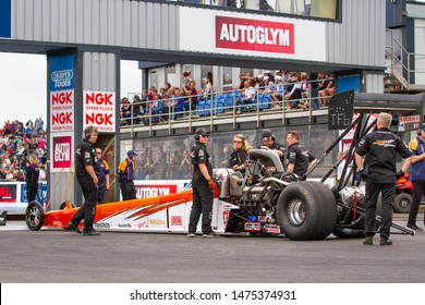 Santa Pod Raceway, UK, May 26 2019. Top Fuel dragster about to enter staging area. Piloted by Mikael Kågered from Sweden. FIA/FIM The Main Event, European Drag Racing Competition.
