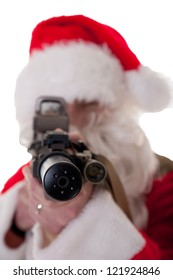 Santa pointing a gun at camera, shallow Depth of field on the silencer - white isolation
