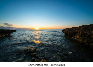 Santa Pola sunrise with amazing views to the beach of mediterran sea