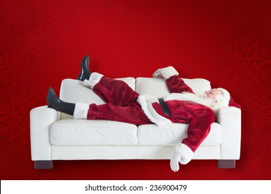 Santa pushes a shopping cart against red background
