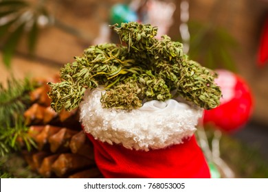 santa red Christmas boot with marijuana