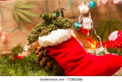 santa red Christmas boot with marijuana decoration