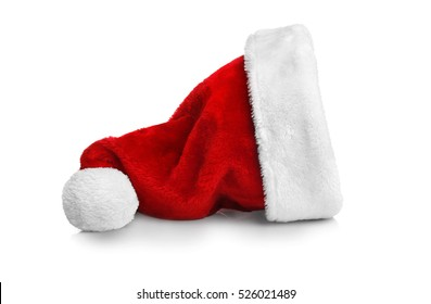 Santa red hat isolated on white