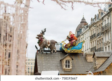 Santa and reindeer at Lille Christmas Market 2017 in Grand Place de Lille