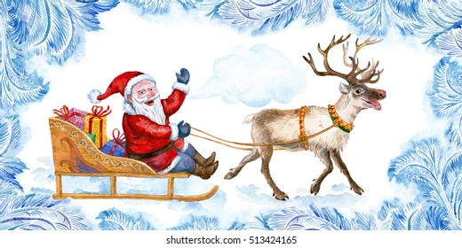 Santa rides in a sleigh pulled by reindeer. Frost pattern. Watercolor.