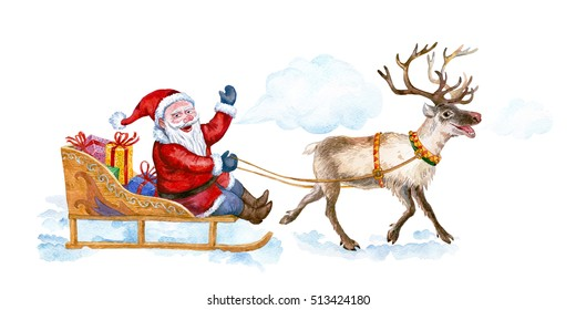 Santa rides in a sleigh pulled by reindeer. Watercolor.