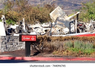 Santa Rosa, CA - October 22, 2017: Arby's restaurant in the Kohl's parking lot reduced to rubble after the firestorm that blew through Napa and Sonoma counties in Northern California.