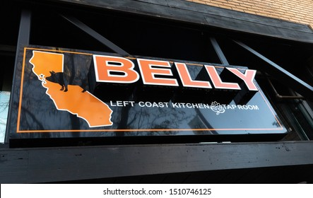 Santa Rosa, California / USA - September 19, 2019: Belly Left Coast Kitchen & Taproom. Downtown. Fourth Street.