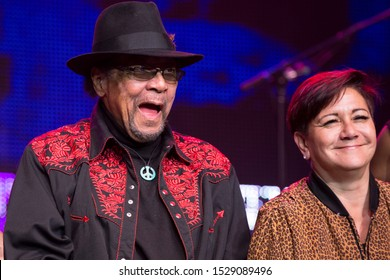 Santa Rosa, CA/USA - 10/8/19: Billy Cox and Janie Hendrix on stage during the Experience Hendrix tour. Cox regularly performed with Jimi Hendrix. Janie is Jimi Hendrix's surviving sister.