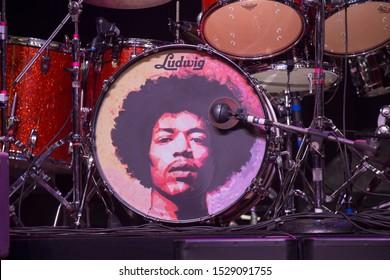 Santa Rosa, CA/USA - 10/8/19: Jimi Hendrix guitar head during the Experience Hendrix tour. The tour celebrates the musician