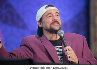 Santa Rosa, CA/USA - 12/15/2018: Kevin Smith performs SModcast live at The Emerald Cup. He's known for his movies Mallrats, Chasing Amy, Dogma, Jay and Silent Bob Strike Back.