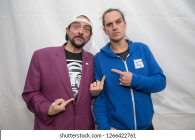 Santa Rosa, CA/USA - 12/15/2018: (L-R) Kevin Smith and Jason Mewes aka Jay and Silent Bob  brought their podcast, Smodcast, to The Emerald Cup. They're known for movies Mallrats, Clerks, Chasing Amy.