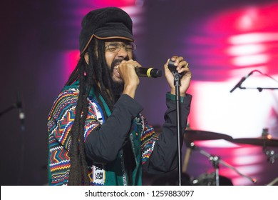 Santa Rosa, CA/USA - 12/15/2018: Oje Ken Ollivierre aka Protoje performs at The Emerald Cup. He's a Grammy Award nominated reggae artist from Jamaica.