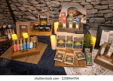Santa Rosa, CA/USA - 12/15/2018: Various Willie Nelson Reserve products on display at The Emerald Cup. The company was started in 2015 by the singer-songwriter.