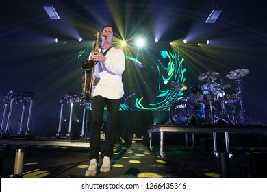 Santa Rosa, CA/USA - 12/16/2018: Big Gigantic (Dominic Lalli & Jeremy Salken) performs at The Emerald Cup. They are an instrumental electronic, hip-hop, and jazz musical duo based out of Boulder, Co.