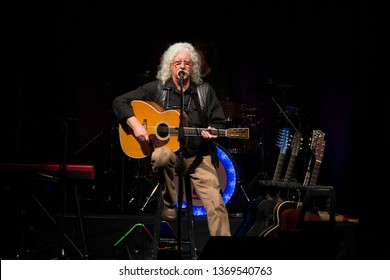 """Santa Rosa, CA/USA - 3/28/19 - Arlo Guthrie performs during the 50th Anniversary of """"Alice's Restaurant"""" at the Luther Burbank Center. In 1969 he performed at the Woodstock music festival."""