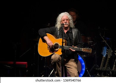 "Santa Rosa, CA/USA - 3/28/19 - Arlo Guthrie performs during the 50th Anniversary of ""Alice's Restaurant"" at the Luther Burbank Center. In 1969 he performed at the Woodstock music festival."