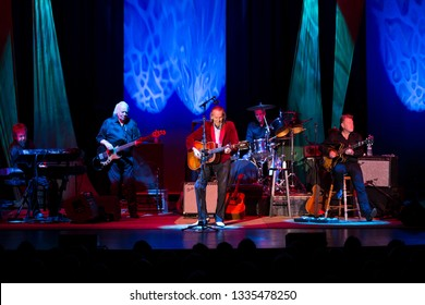 Santa Rosa, CA/USA - 3/6/19: Gordon Lightfoot (front and center) performs at the Luther Burbank Center for the Arts. A Canadian singer-songwriter in folk, folk-rock, and country music.