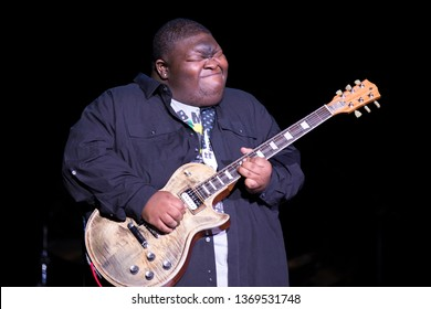 """Santa Rosa, CA/USA - 4/12/19: Christone """"Kingfish"""" Ingram performs at the Luther Burbank Center for the Arts. He's a blues guitarist and singer from Clarksdale, Mississippi."""