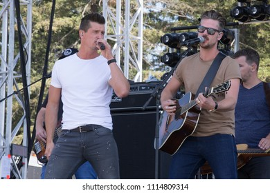 Santa Rosa, CA/USA: 6/17/2018: Brad Rempel and Curtis Rempel of High Valley perform at Country Summer Music Festival. The brothers are from Alberta, Canada.