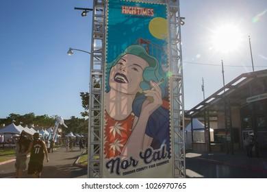 Santa Rosa, CA/USA - 6/3/17: High Times Cannabis Cup in Santa Rosa, CA.  The festival features a career fair, edible village, topical massage spa, more.  Santa Rosa is located North of San Francisco.