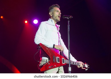 Santa Rosa, CA/USA - 6/3/17: Nick Hexum , lead singer of 311 , performs at the High Times Cannabis Cup in Santa Rosa, CA.  The band is a blend of rock, reggae, hip hop and funk.