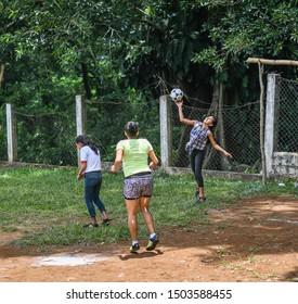 santa rosa Guatemala 09/10/2019 latin girls playing soccer/football in Guatemalan village