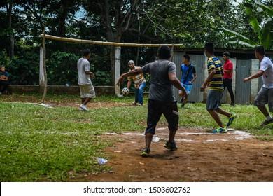 Santa Rosa Guatemala 09/10/2019 latin men playing soccer/football in Guatemalan village