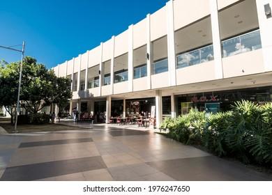 Santa Rosa, Laguna, Philippines - May 2021: Walking through a courtyard inside Ayala Malls Solenad.