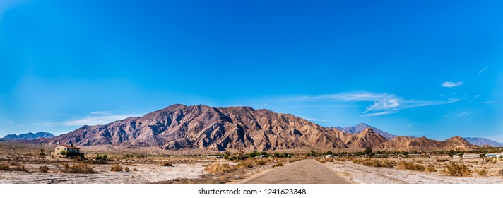 Santa Rosa Mountains as seen from the Desert Shores Community Play Park looking over the Highway 86, Salton Sea, Imperial County, California.