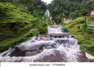 SANTA ROSA, PEREIRA, COLOMBIA, NOVEMBER 15, 2017: Thermal sources Santa Rosa de Cabal in the coffee zone of Colombia. Pereira, Colombia, November 15, 2017