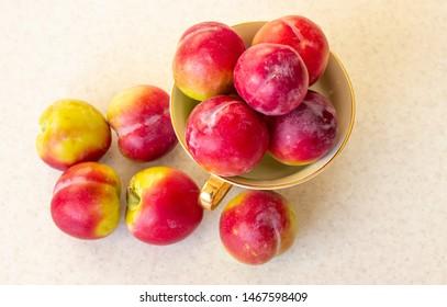 Santa rosa plums on a plate