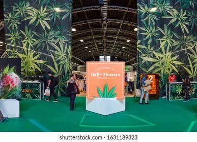 SANTA ROSA, UNITED STATES - Sep 18, 2018: Entrance with attendees at Hall of Flowers Cannabis Tradeshow in Santa Rosa, California