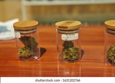SANTA ROSA, UNITED STATES - Sep 18, 2018: Eighth  of cannabis flower in a Jar. Hall of Flowers Cannabis Tradeshow in Santa Rosa, California