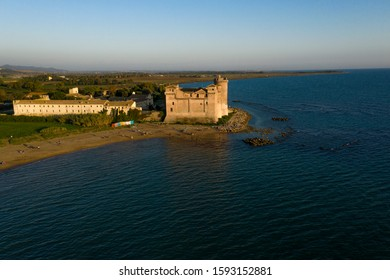 Santa Severa,Roma Italy- November 03 2019 : beautiful sea of Lazio on a sunny summer day with tourist