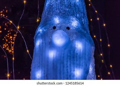 A santa shaped christmas lamp