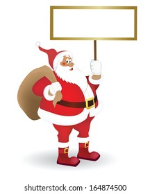 Santa with a sign in his hand