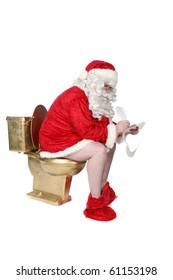 Santa sitting on golden toilet writing his Christmas list