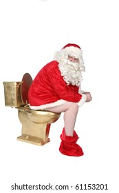 Santa sitting on a golden toilet with his pants down