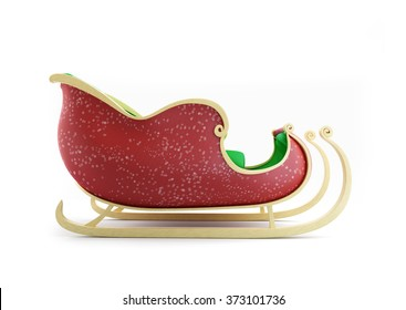Santa Sleigh 3d Illustrations on a white background