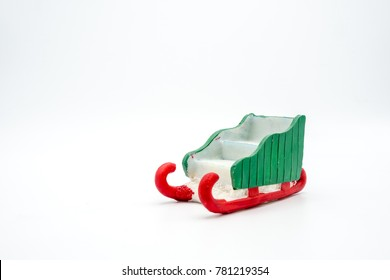 Santa sleigh on white background