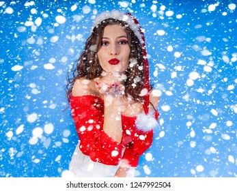 Santa With Snowflake Blue Background Red Woman Red Dress Red Lipstick Young Woman Christmas Woman Christmas Background Xmas Pretty Woman Santa Lady Winter Portrait